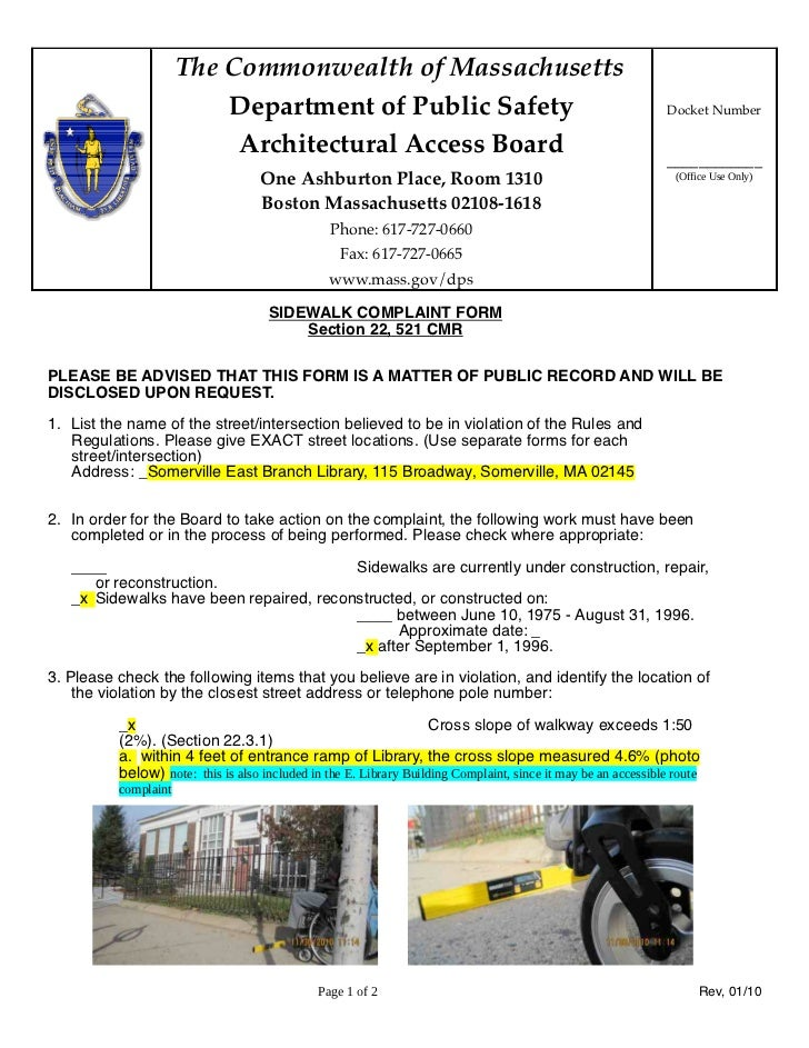 The Commonwealth of Massachusetts                          Department of Public Safety                                    ...