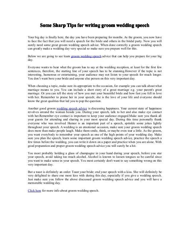 Some sharp tips for writing groom wedding speech