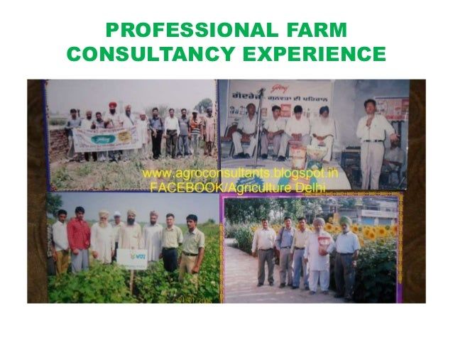 PROFESSIONAL FARM CONSULTANCY EXPERIENCE