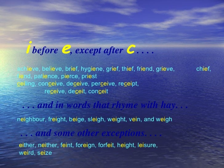 Some spelling rules 2 i before e except sciox Image collections