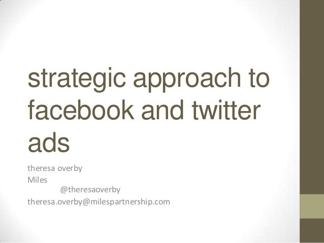 strategic approach tofacebook and twitteradstheresa overbyMiles         @theresaoverbytheresa.overby@milespartnership.com