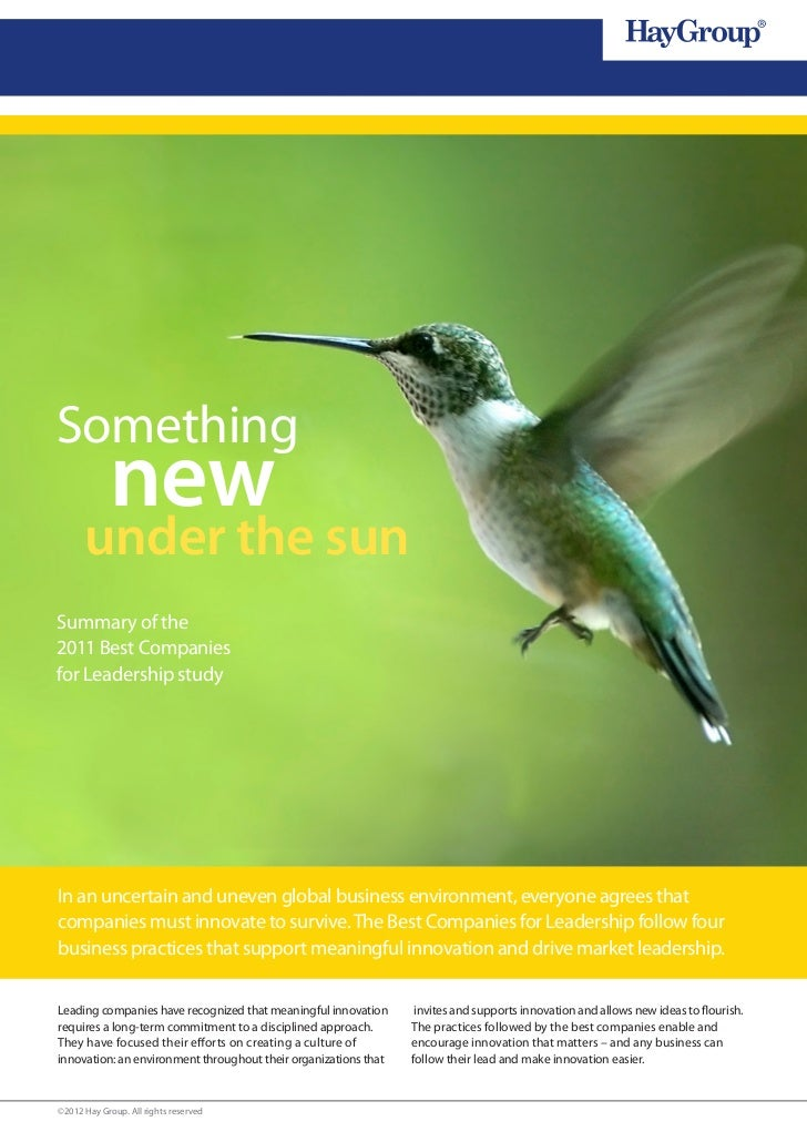 Something            new      under the sunSummary of the2011 Best Companiesfor Leadership studyIn an uncertain and uneven...