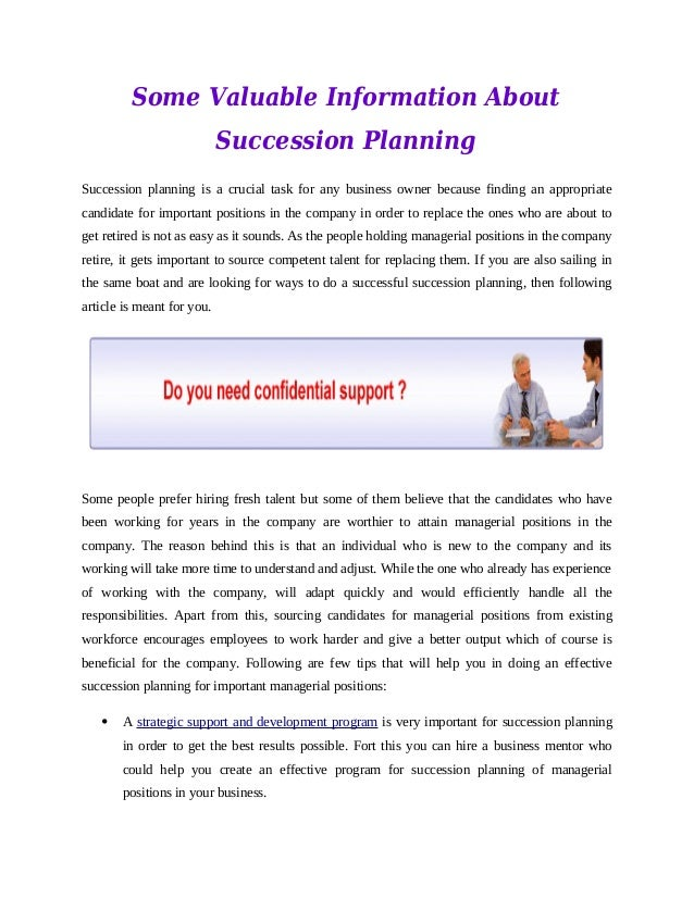 Some Valuable Information About Succession Planning Succession planning is a crucial task for any business owner because f...