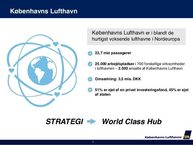 Københavns Lufthavn Københavns Lufthavn er i blandt de hurtigst voksende lufthavne i Nordeuropa 23,7 mio passagerer 25.000...