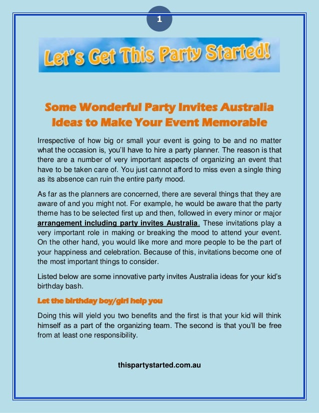 1 Some Wonderful Party Invites Australia Ideas To Make Your Event Memorable Irrespective Of How Big