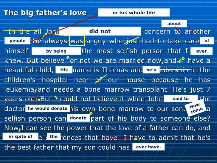 <ul><li>The big father's love </li></ul><ul><li>In the all John's life he never had to concern to another person. He alway...