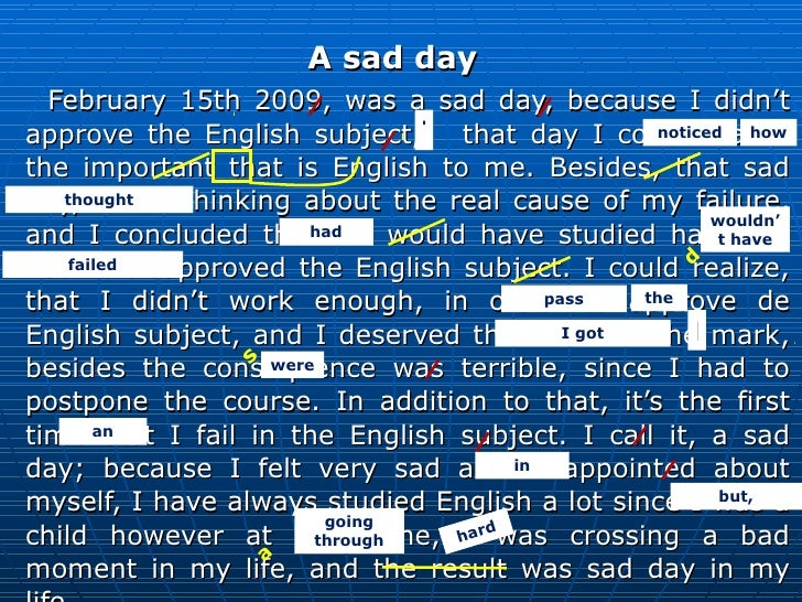 <ul><li>A sad day </li></ul><ul><li>February 15th 2009, was a sad day, because I didn't approve the English subject,  that...