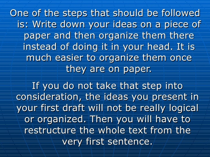 <ul><li>One of the steps that should be followed is: Write down your ideas on a piece of paper and then organize them ther...