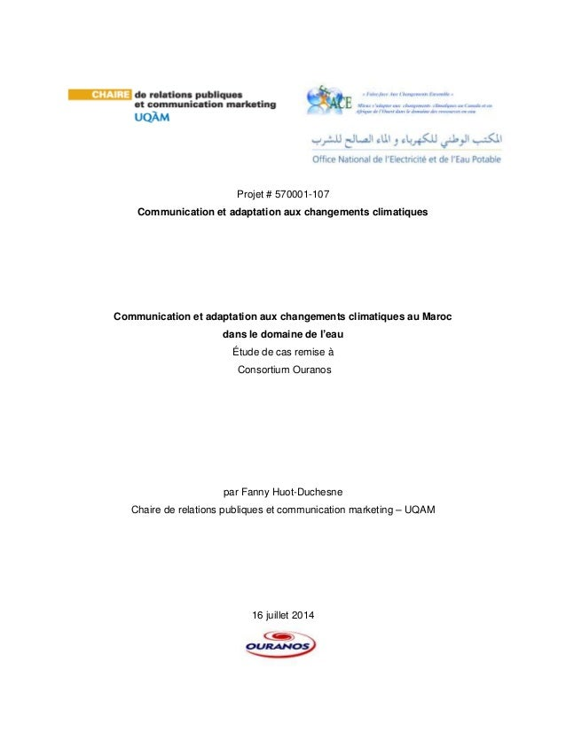 Projet # 570001-107 Communication et adaptation aux changements climatiques Communication et adaptation aux changements cl...