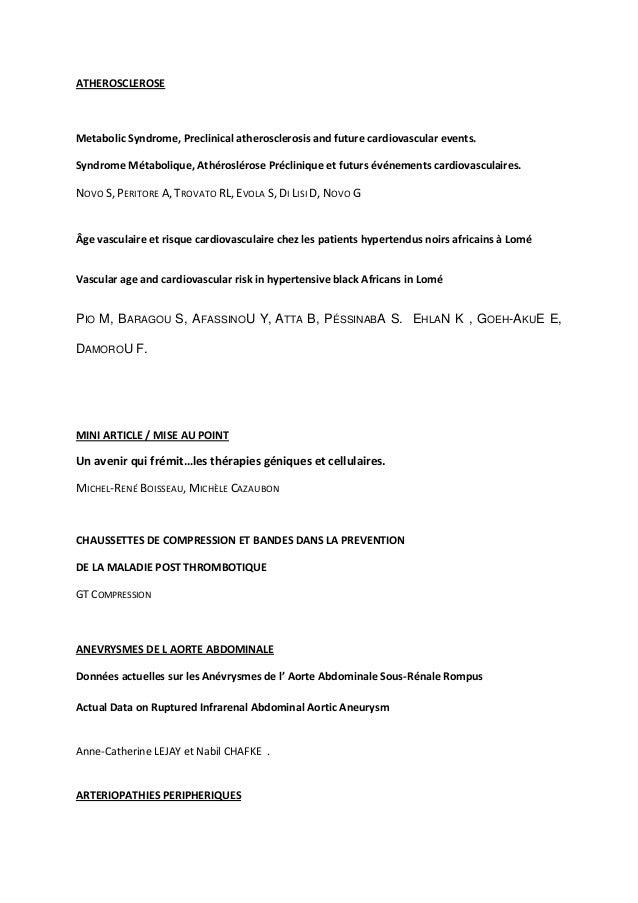 ATHEROSCLEROSEMetabolic Syndrome, Preclinical atherosclerosis and future cardiovascular events.Syndrome Métabolique, Athér...