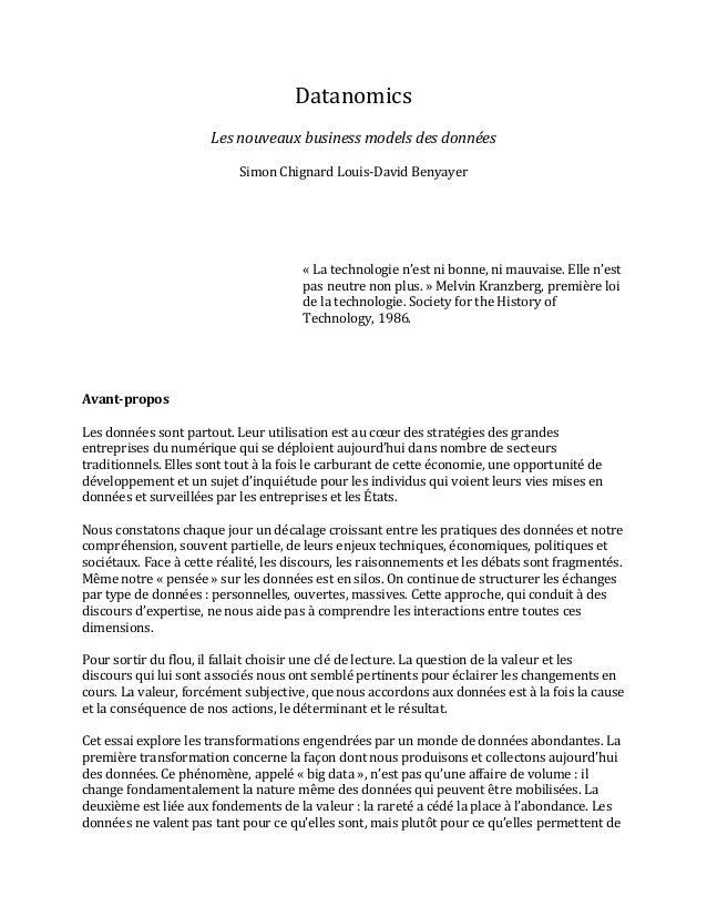 Datanomics      Les  nouveaux  business  models  des  données      Simon  Chignard  Louis-‐David  ...