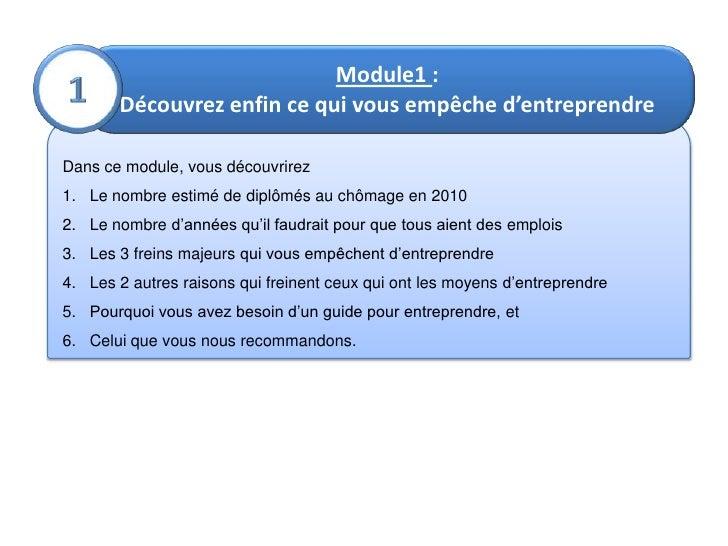 Module1: <br />Découvrez enfin ce qui vous empêche d'entreprendre<br />1<br />Dans ce module, vous découvrirez<br />Le no...
