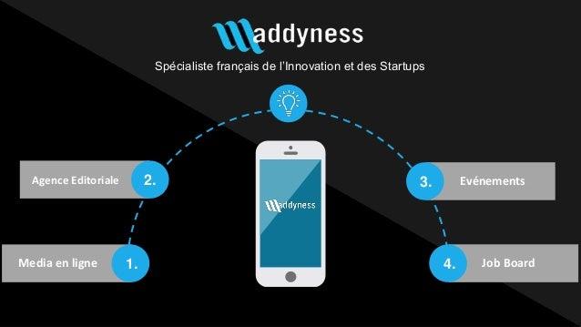 Spécialiste français de l'Innovation et des Startups Media en ligne 1. 2. 3. 4. Evénements Job Board Agence Editoriale AUT...