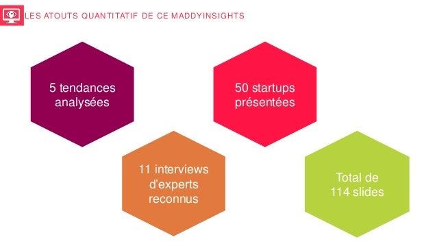 5 tendances analysées 50 startups présentées 11 interviews d'experts reconnus Total de 114 slides LES ATOUTS QUANTITATIF D...