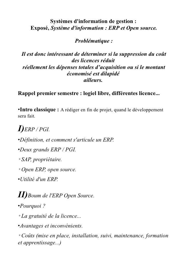 Systèmes d'information de gestion :        Exposé, Système d'information : ERP et Open source.                            ...