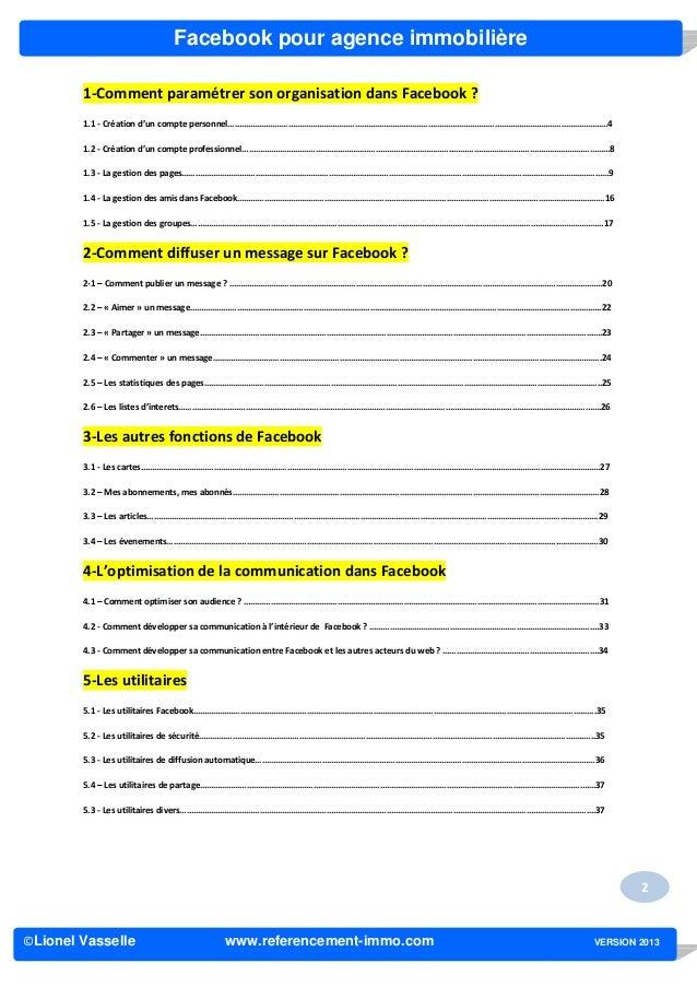 Facebook pour agence immobilière        1-Comment paramétrer son organisation dans Facebook ?        1.1 - Création d'un c...