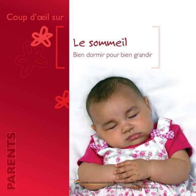 Bien dormir pour bien grandir Le sommeil Coup d'oeil sur