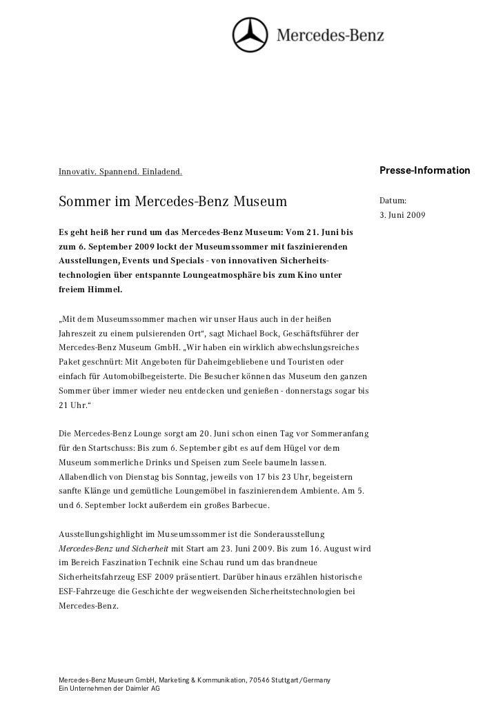 Innovativ. Spannend. Einladend.                                                    Presse-InformationSommer im Mercedes-Be...