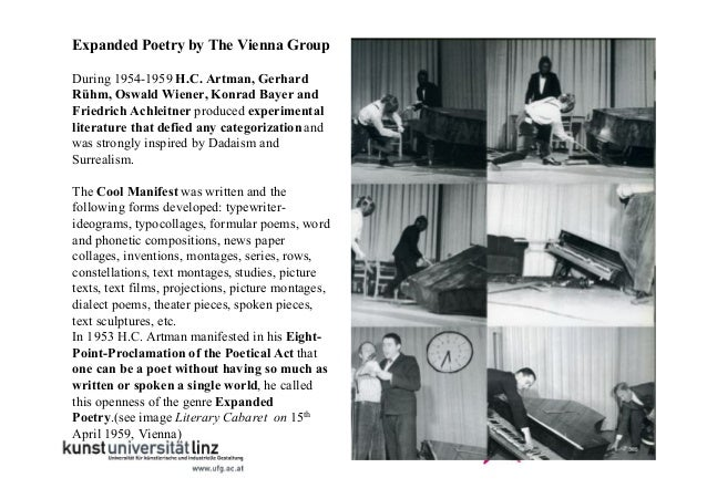 Expanded Poetry by The Vienna Group During 1954-1959 H.C. Artman, Gerhard Rühm, Oswald Wiener, Konrad Bayer and Friedrich ...
