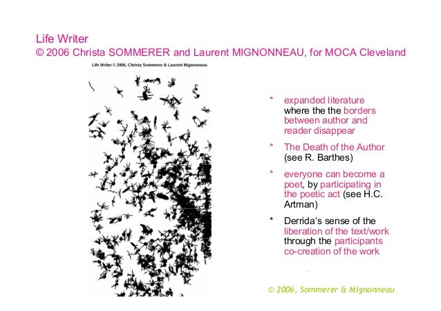 Life Writer © 2006 Christa SOMMERER and Laurent MIGNONNEAU, for MOCA Cleveland  *  expanded literature where the the borde...