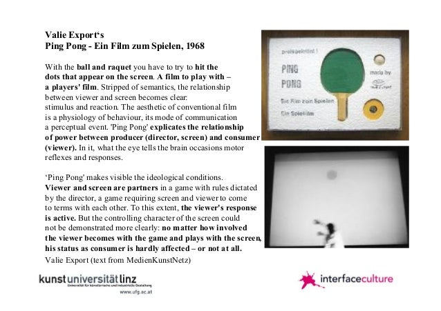 Valie Export's Ping Pong - Ein Film zum Spielen, 1968 With the ball and raquet you have to try to hit the dots that appear...