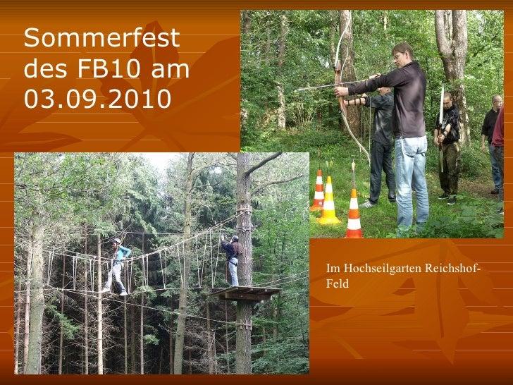 Sommerfest des FB10 am 03.09.2010  Im Hochseilgarten Reichshof-Feld