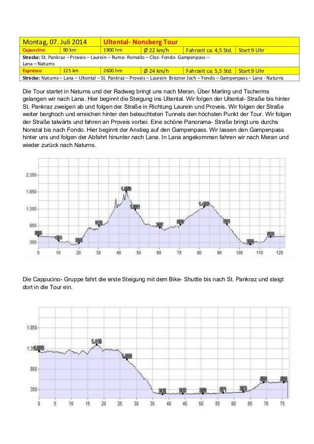 Montag, 07. Juli 2014  Ultental- Nonsberg Tour  Capuccino 90 km 1900 hm Ø 22 km/h Fahrzeit ca. 4,5 Std. Start 9 Uhr Streck...