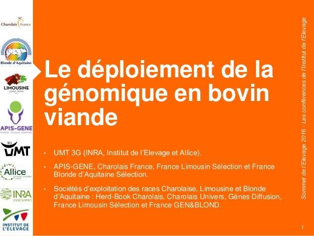 Sommetdel'Elevage2016-Lesconférencesdel'Institutdel'Elevage Le déploiement de la génomique en bovin viande • UMT 3G (INRA,...