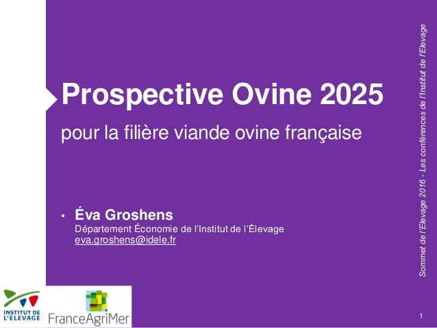 Sommetdel'Elevage2016-Lesconférencesdel'Institutdel'Elevage Prospective Ovine 2025 pour la filière viande ovine française ...