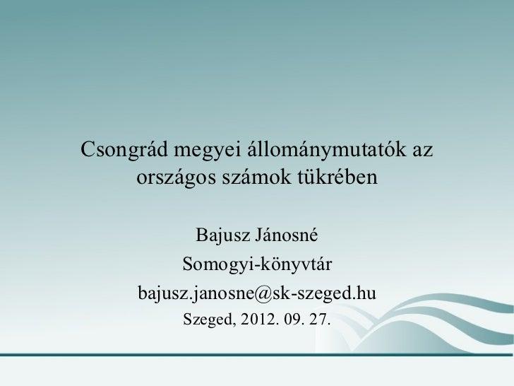Csongrád megyei állománymutatók az     országos számok tükrében            Bajusz Jánosné          Somogyi-könyvtár     ba...