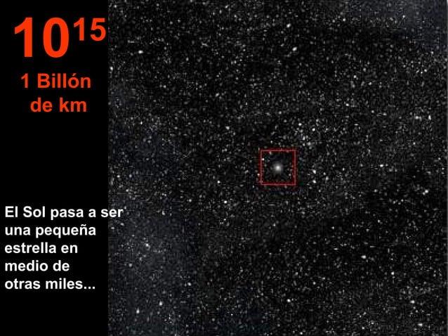 El Sol pasa a ser una pequeña estrella en medio de otras miles... 1015 1 Billón de km
