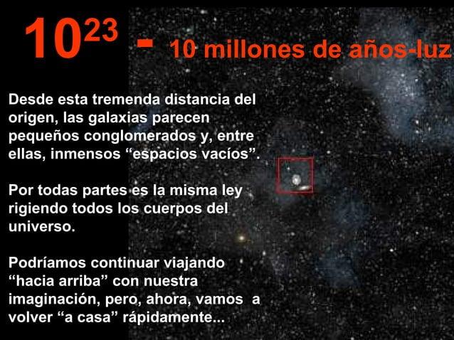 """Desde esta tremenda distancia del origen, las galaxias parecen pequeños conglomerados y, entre ellas, inmensos """"espacios v..."""