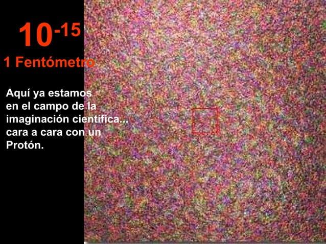 Aquí ya estamos en el campo de la imaginación científica... cara a cara con un Protón. 10-15 1 Fentómetro