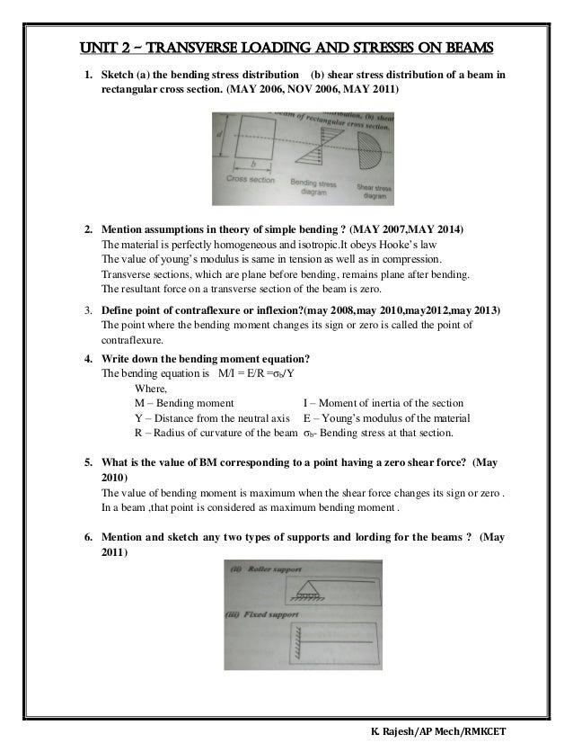 K. Rajesh/AP Mech/RMKCET UNIT 2 - Transverse loading and stresses on beams 1. Sketch (a) the bending stress distribution (...