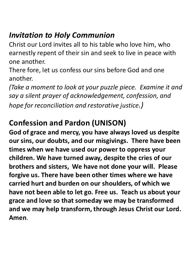 Invitation to Holy Communion<br />Christ our Lord invites all to his table who love him, who earnestly repent of their sin...