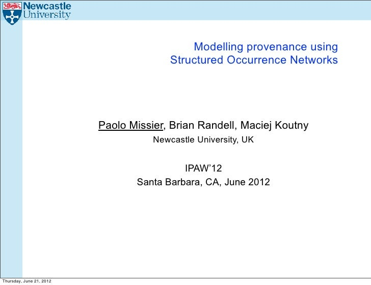 Modelling provenance using                                         Structured Occurrence Networks                         ...