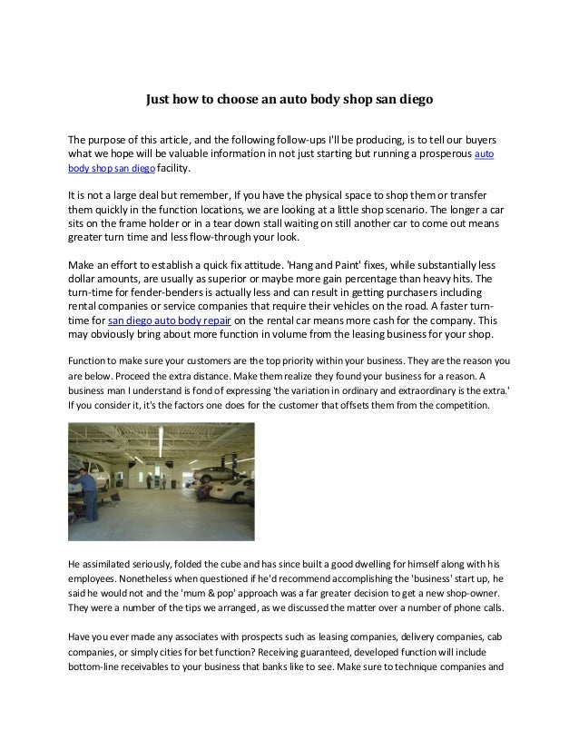 Just how to choose an auto body shop san diego