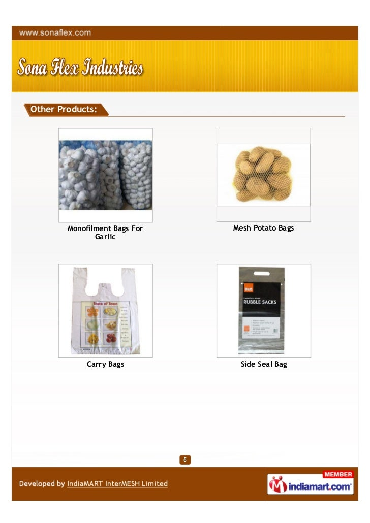 Other Products:        Monofilment Bags For   Mesh Potato Bags               Garlic             Carry Bags         Side Se...