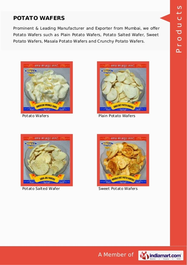 A Member of POTATO WAFERS Prominent & Leading Manufacturer and Exporter from Mumbai, we offer Potato Wafers such as Plain P...
