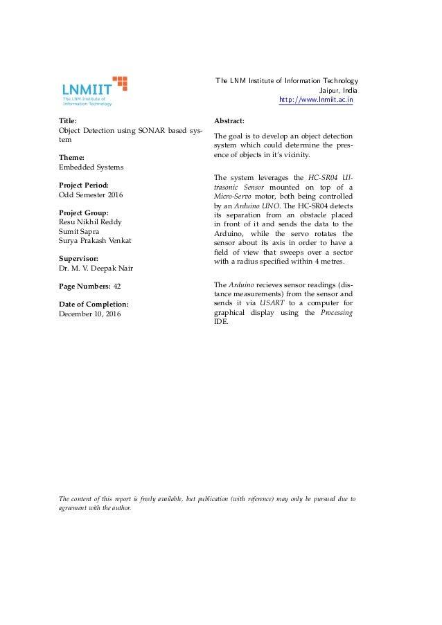 Sonar Project Report