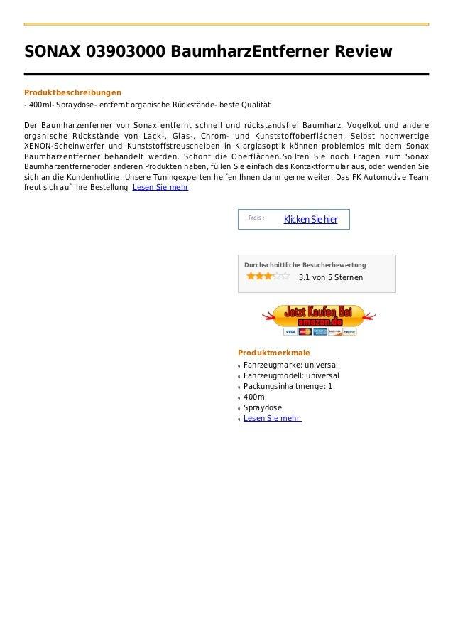 SONAX 03903000 BaumharzEntferner ReviewProduktbeschreibungen- 400ml- Spraydose- entfernt organische Rückstände- beste Qual...