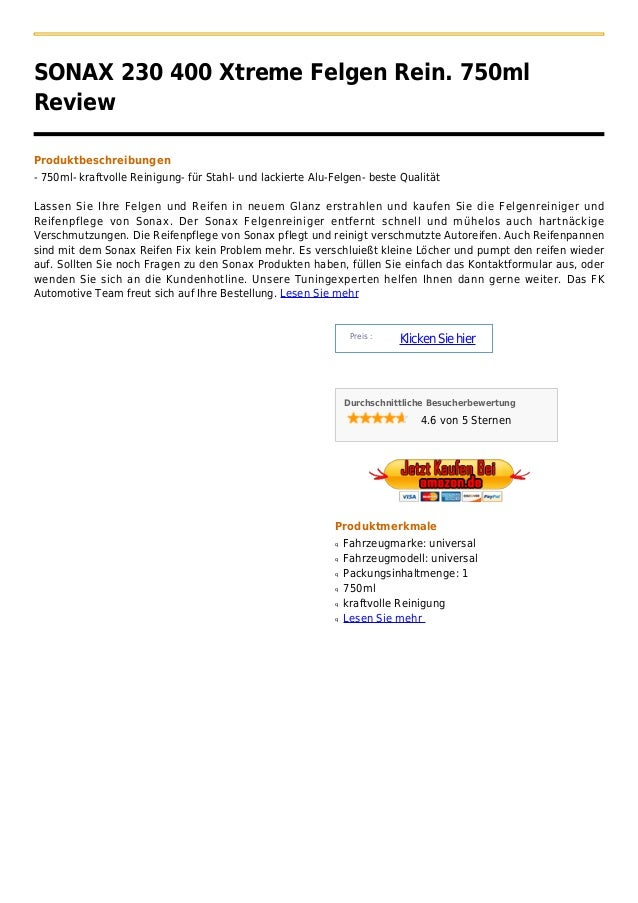 SONAX 230 400 Xtreme Felgen Rein. 750mlReviewProduktbeschreibungen- 750ml- kraftvolle Reinigung- für Stahl- und lackierte ...