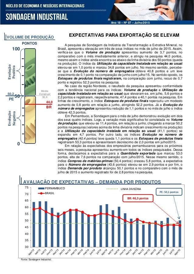 Ano 18– Nº 03 – Março 2015 Ano 18 – Nº 07 – Julho/2015 EXPECTATIVAS PARA EXPORTAÇÃO SE ELEVAM A pesquisa de Sondagem da In...