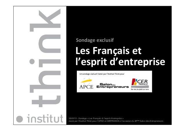 Sondage exclusif       Les Français et        l'esprit d'entreprise                Un sondage excl...