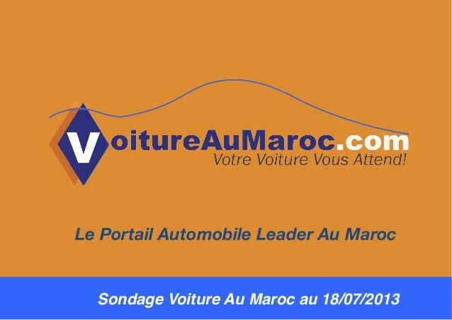 Sondage Voiture Au Maroc au 18/07/2013! Le Portail Automobile Leader Au Maroc