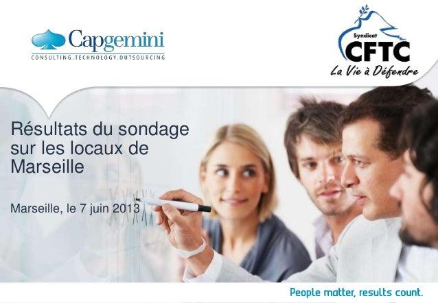 Résultats du sondage sur les locaux de Marseille Marseille, le 7 juin 2013