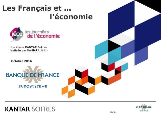 70WJ24 Les Français et … l'économie Octobre 2016 Une étude KANTAR Sofres réalisée par