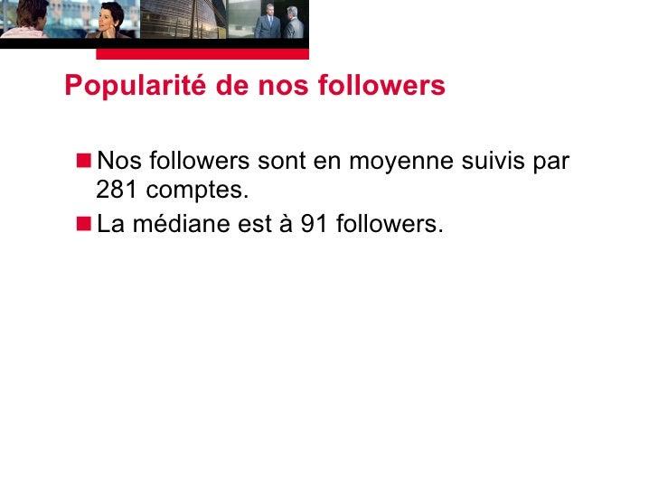 Popularité de nos followers <ul><li>Nos followers sont en moyenne suivis par 281 comptes. </li></ul><ul><li>La médiane est...