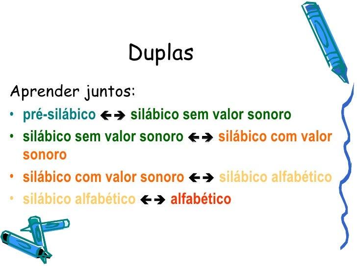 Duplas <ul><li>Aprender juntos: </li></ul><ul><li>pré-silábico      silábico sem valor sonoro </li></ul><ul><li>silábico...