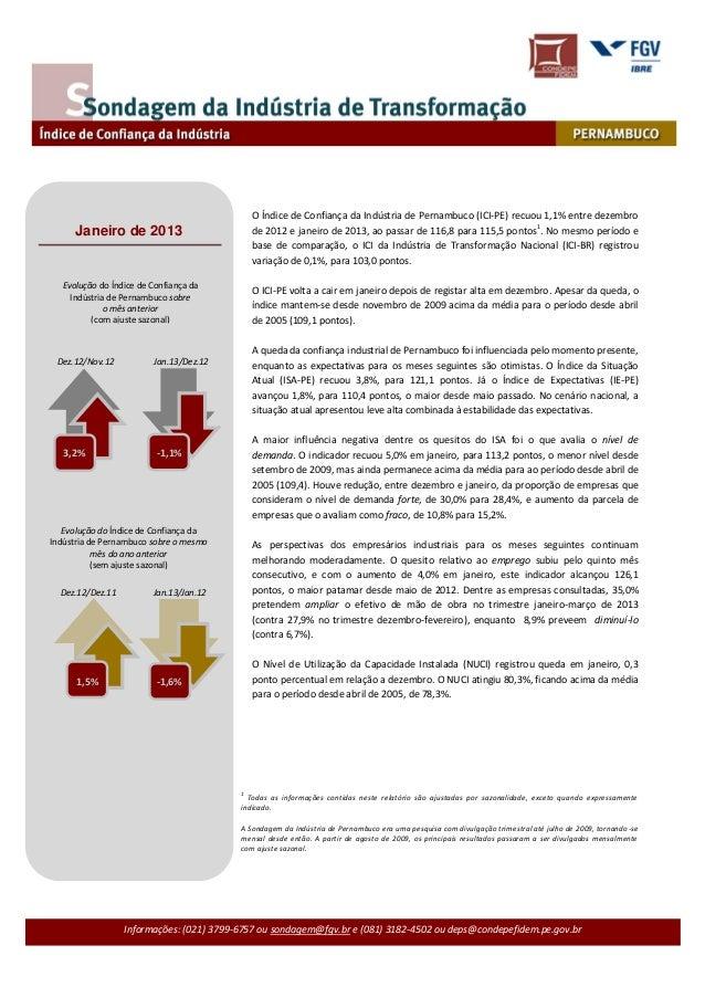 O Índice de Confiança da Indústria de Pernambuco (ICI-PE) recuou 1,1% entre dezembro                                      ...